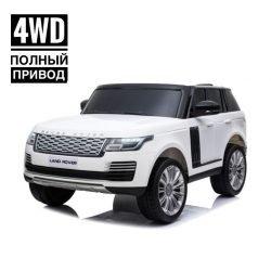 Электромобиль Range Rover HSE 4WD белый (2х местный, полный привод, колеса резина, кресло кожа, пульт, музыка)